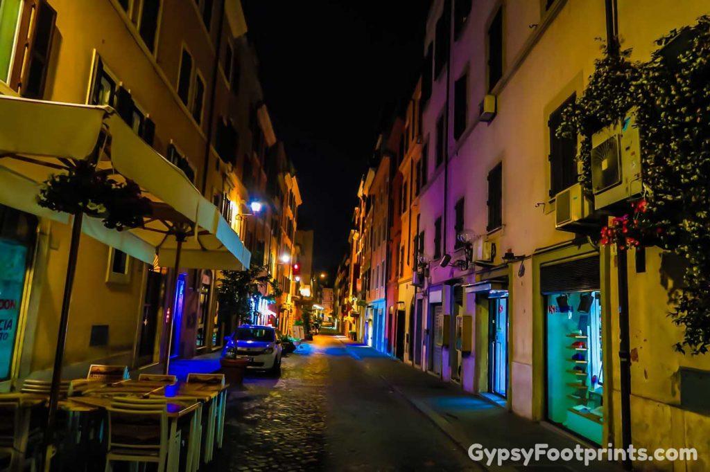 Dark street in Rome