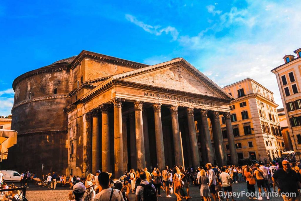 The Pantheon in Rome with a busy town square
