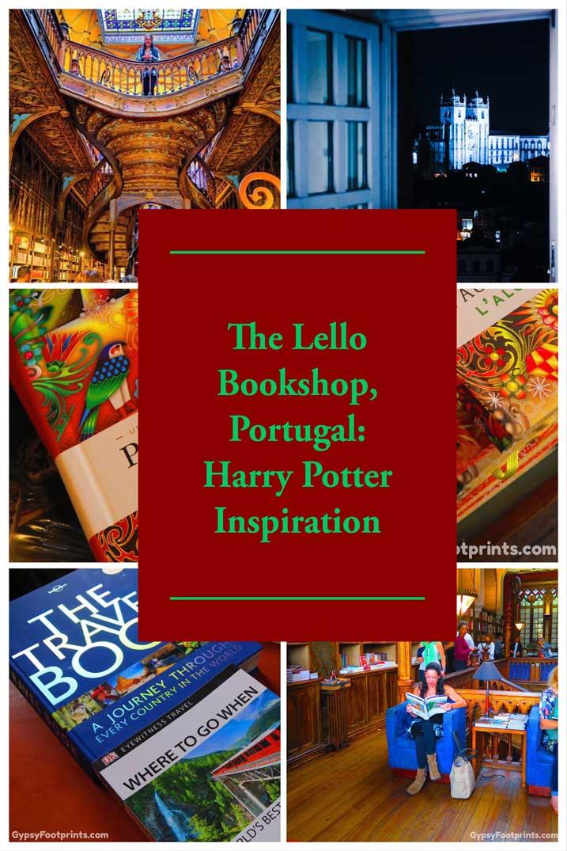 Pinterest collage pin for the Lello Bookshop in Porto