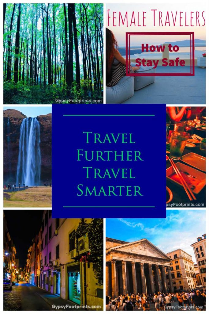 Pinterest pin collage for article about female and travel safety.